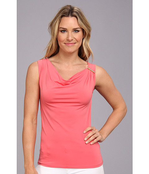 Bluze Anne Klein New York - Sleeveless Drape Front Top - Deep Coral