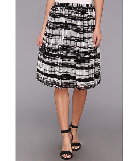 Fuste Calvin Klein - Printed Pinktuck Polyester Chiffon Skirt - Black/White