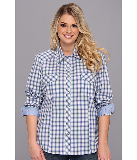 Camasi Roper - Plus Size 9002 Ombre Check Long Sleeve Shirt - Purple