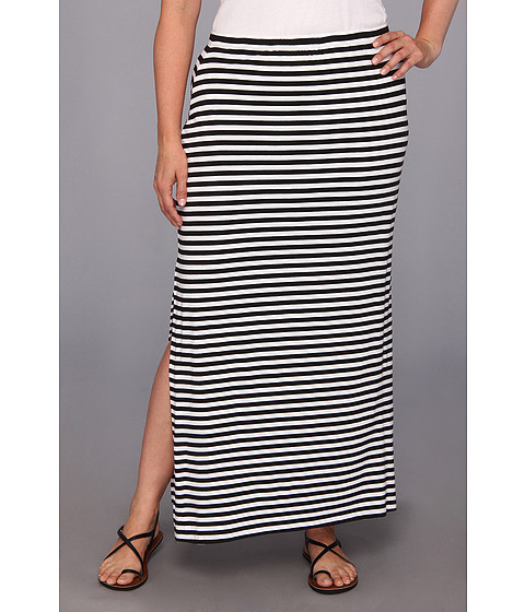 Fuste MICHAEL Michael Kors - Plus Size Stripe Side Slit Skirt - Black/White