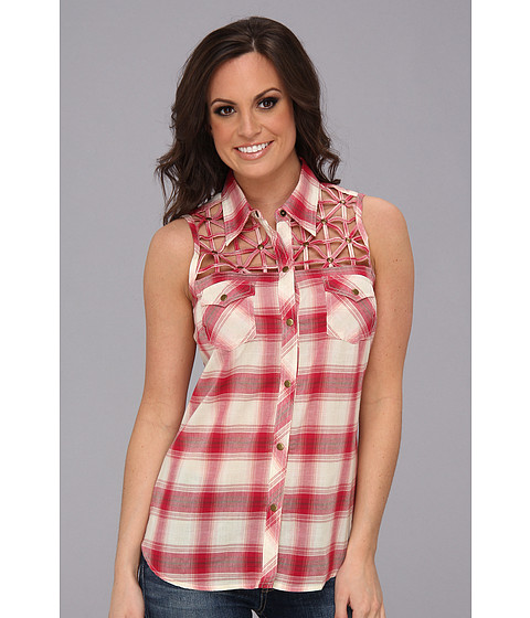 Camasi Roper - 8989 Ombre Plaid Sleeveless Shirt - Red