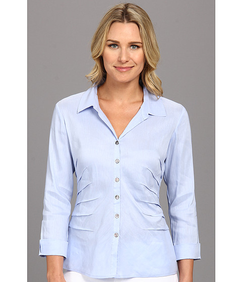Camasi NIC+ZOE - Side Ruched Shirt - Blue Sky