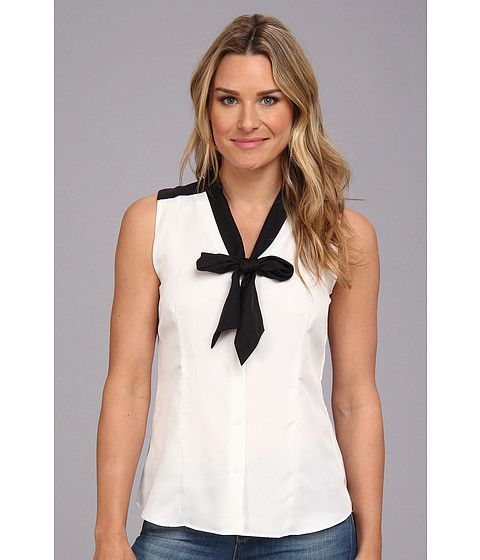 Bluze Anne Klein New York - Color Block Bow Blouse - Pearl