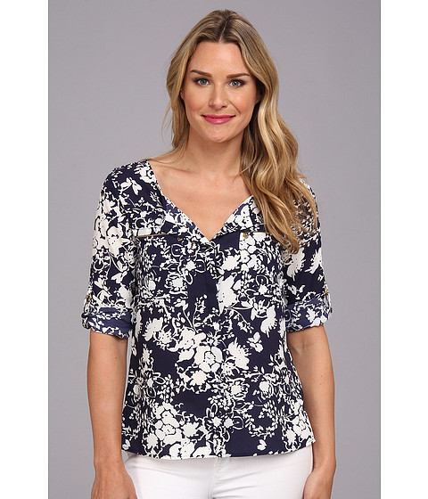 Bluze Anne Klein New York - Floral Print Roll Sleeve Shirt - New Marine