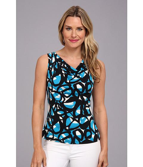 Bluze Calvin Klein - Iman Print Drape Neck Cami - Cerulean Multi