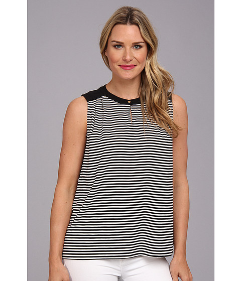 Bluze Calvin Klein - Sleeveless Striped Blouse - Black/Cream