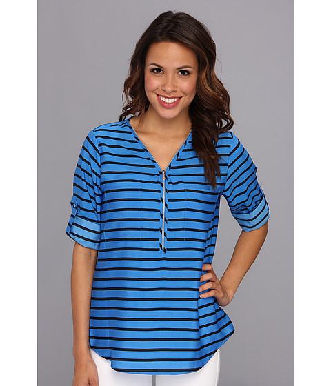 Bluze Calvin Klein - Zip Neck Blouse - Black/Blue