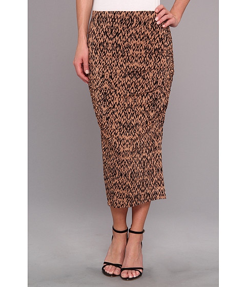 Fuste Three Dots - Ruched Midi Skirt - Nude Combo