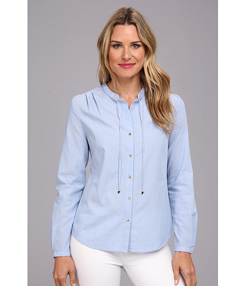Camasi Anne Klein - Chambray Long Sleeve Shirt - French Blue Multi