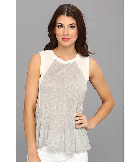 Bluze Rebecca Taylor - Sleeveless Knit & Chiffon Top - Light Grey