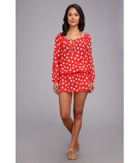 Costume de baie Athena - Drop Waist Tunic Cover-Up - Dot Coral