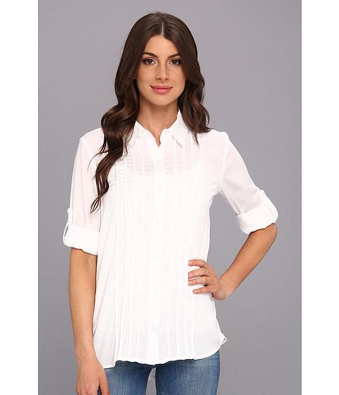Bluze Calvin Klein - Pintuck Roll Sleeve Polyester Top - White