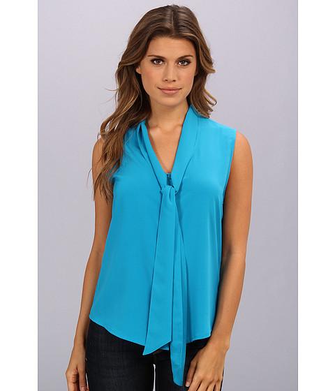 Bluze Calvin Klein - Sleevless Tie Neck Front Blouse - Cerulean