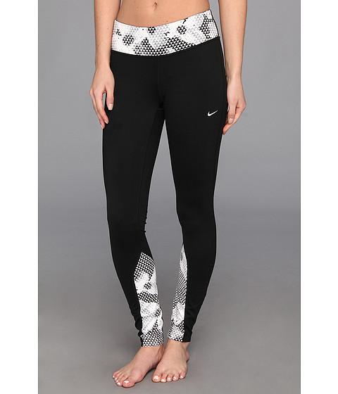 Pantaloni Nike - Dri-Fit(R) Run Printed Tight - Black/White/Matte Silver