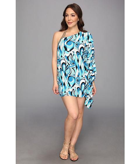 Costume de baie MICHAEL Michael Kors - Plus Size Caprese Patchwork One Shoulder Cover-Up - Summer Blue