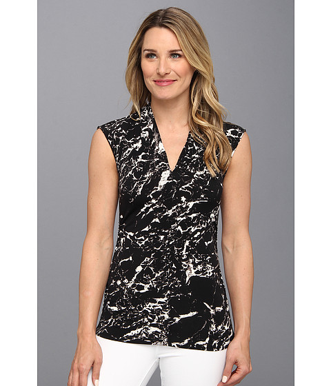 Bluze Vince Camuto - Cap Sleeve Pleat V-Neck Marble Stone Top - Rich Black