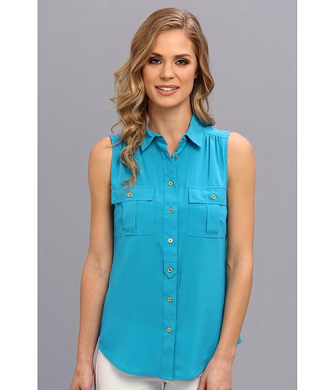 Bluze Calvin Klein - Sleevless Button Down Blouse - Cerulean
