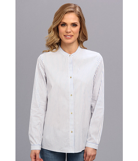 Camasi Anne Klein - Stripe Long Sleeve Shirt - French Blue Multi