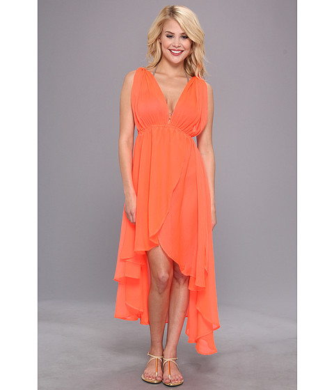 Lenjerie Steve Madden - Solid Grecian High/Low Coverup - Hot Coral