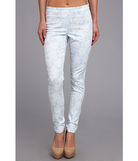 Pantaloni Christin Michaels - Comfort Waist Stretch Paisley Jean - Sky Blue/White