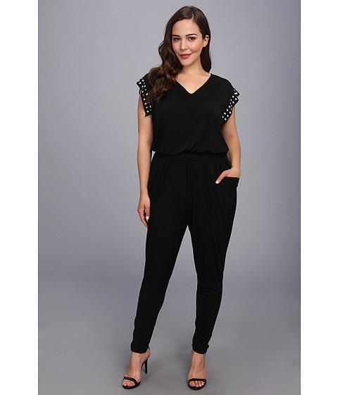 Pantaloni MICHAEL Michael Kors - Plus Size V-Neck Stud Tie Jumpsuit - Black/Silver