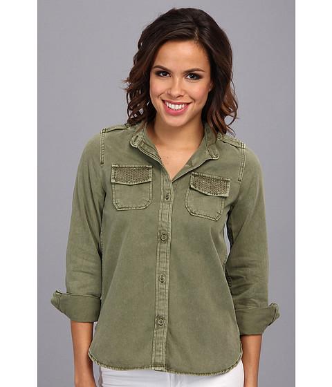 Camasi Lucky Brand - Embellished Shirt Jacket - Olivine