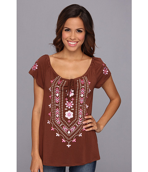 Bluze Roper - 9040 Poly Rayon Jersey Peasant Top - Brown