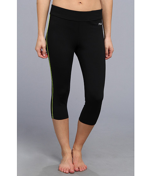 Pantaloni Fila - Side Piped Tight Capri - Black/Safety Yellow
