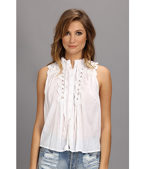 Bluze Free People - Lace Inset Collar Blouse - White