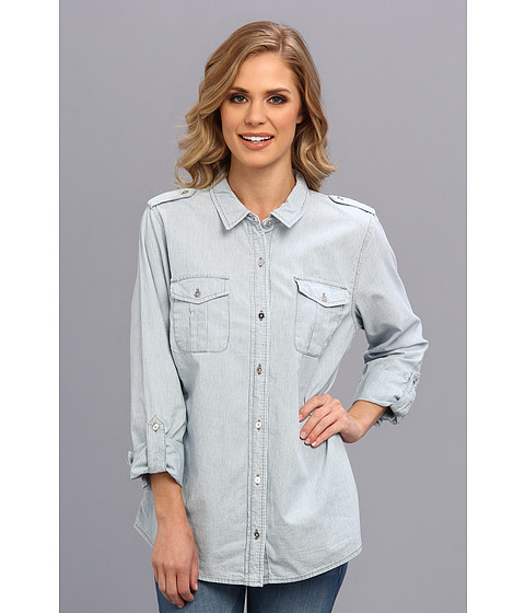 Camasi Jones New York - Denim Safari Shirt with Roll Sleeves - Laguna Wash