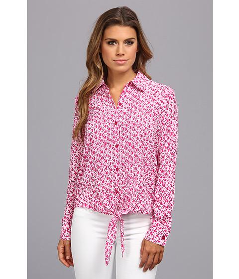 Camasi MICHAEL Michael Kors - Woven Front Tie Hem Top - Radiant Pink 1