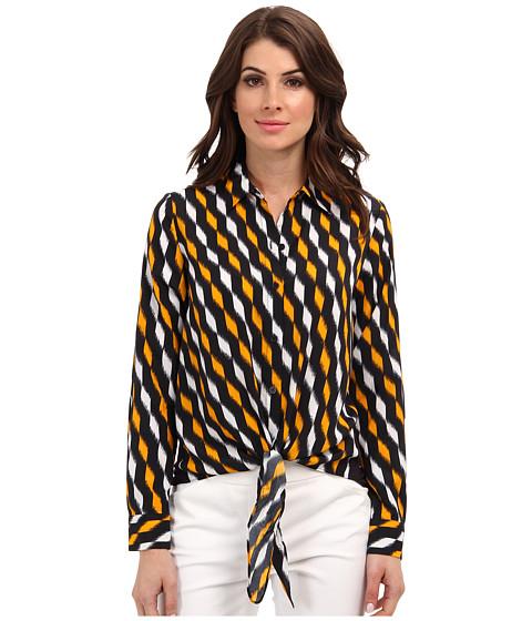 Camasi MICHAEL Michael Kors - Woven Front Tie Hem Top - Vintage Yellow