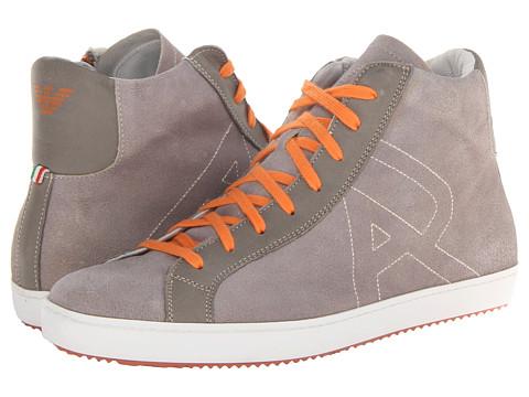 Adidasi Armani Jeans - Washed Leather High Top - Grey