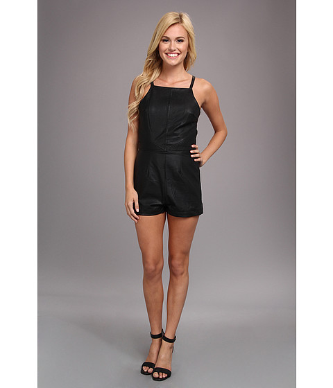 Pantaloni Dolce Vita - Faux Leather Romper - Black