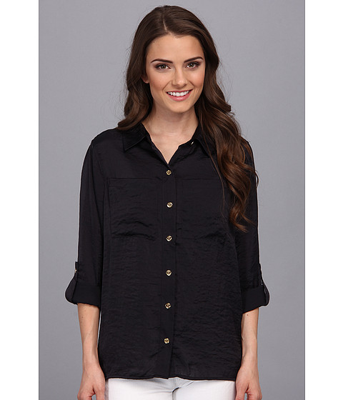 Camasi MICHAEL Michael Kors - Petite High-Low Button Down Shirt - Navy