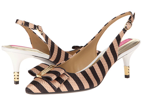 Pantofi Isaac Mizrahi New York - Mindy2 - Black/Beige Stripe Fabric