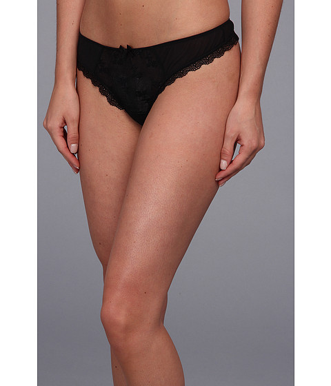 Lenjerie Free People - Sheer Lace Floral Embroidered Thong - Black