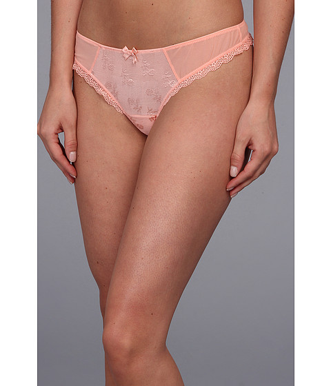 Lenjerie Free People - Sheer Lace Floral Embroidered Thong - Blush