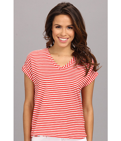 Bluze Vince Camuto - S/S V-Neck Parallel Stripe Tee - Flame