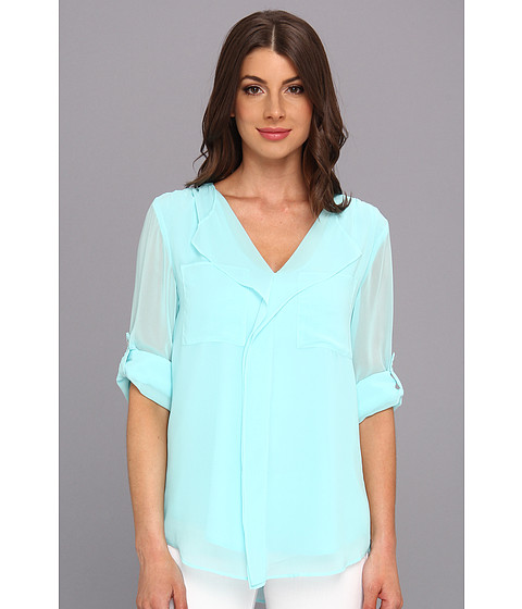 Bluze Calvin Klein - L/S Ruffle Front Polyester Chiffon Top - Aqua