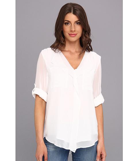 Bluze Calvin Klein - L/S Ruffle Front Polyester Chiffon Top - White