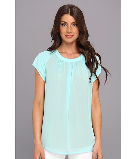 Bluze Calvin Klein - S/S Slit Front Poly Chiffon Top - Aqua