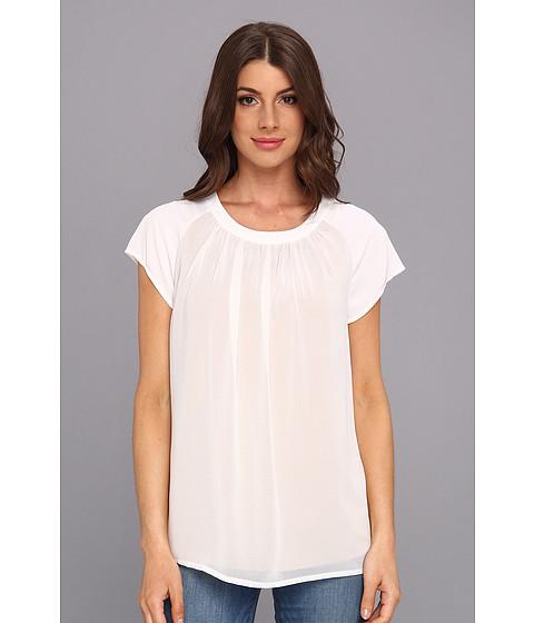 Bluze Calvin Klein - S/S Slit Front Poly Chiffon Top - White