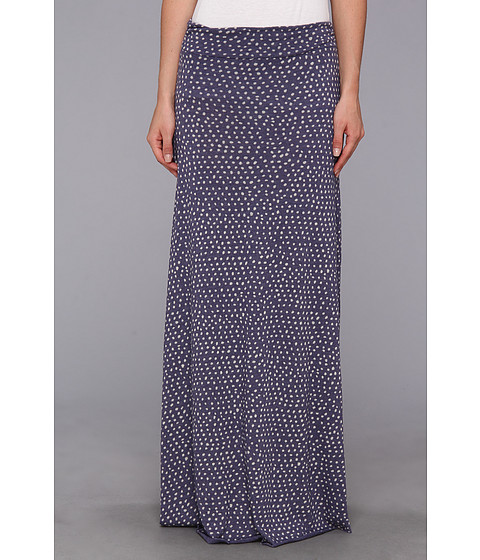 Fuste Alternative Apparel - Printed Double Dare Maxi Skirt - Eco True Cambridge Blue White Haru Dot
