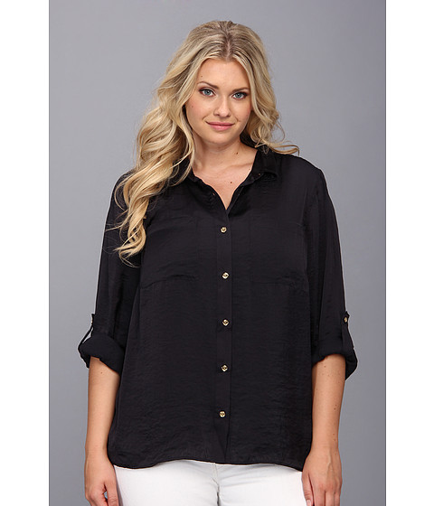 Bluze MICHAEL Michael Kors - Plus Size High-Low Button Down Shirt - Navy