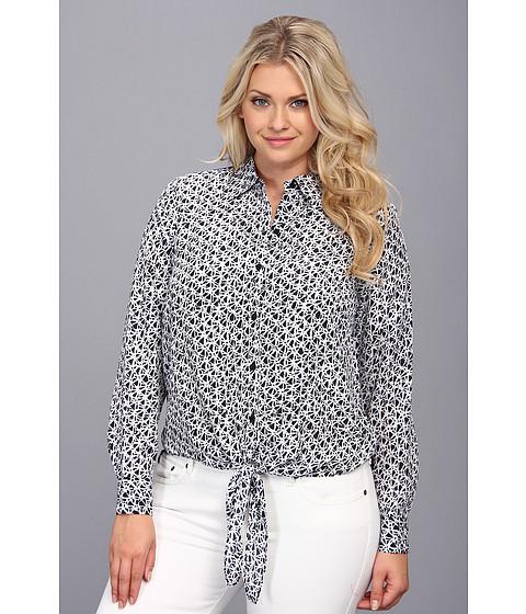 Bluze MICHAEL Michael Kors - Plus Size Woven Front Tie Hem Top - Navy