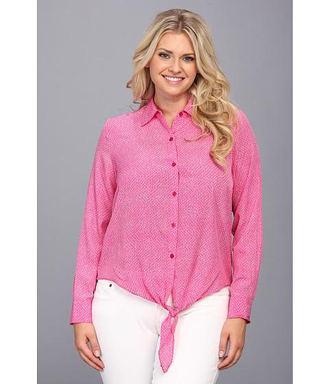 Bluze MICHAEL Michael Kors - Plus Size Woven Front Tie Hem Top - Radiant Pink