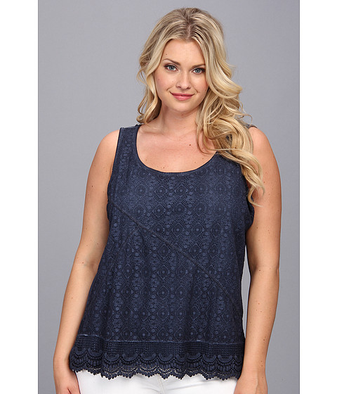 Bluze DKNY - Plus Size Lace Mix Tank - Mood Indigo