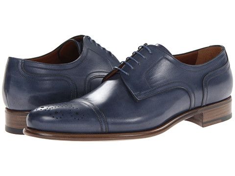Pantofi A. Testoni - Washed Calf Cap Toe Oxford - Ultramarine