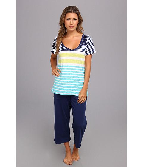 Lenjerie Tommy Hilfiger - Stripe V-Neck Tee w/ Patch Pocket Capri - Blue Multi Stripe/Twilight Blue